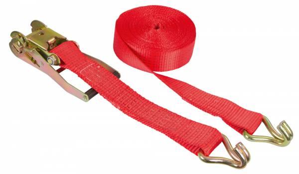 Ratschen-Zurrgurt mit Spitzhaken – Farbe rot