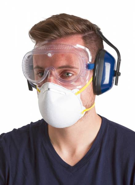 Sicherheits-Set 4-teilig – bestehend aus Staubmaske FFP1, Vollsichtbrille, Kapselgehörschutz