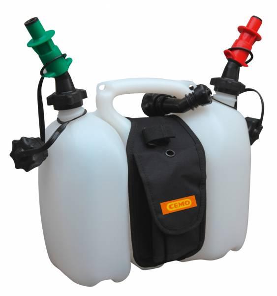 Doppelkanister für Benzin-Öl mit Satteltasche