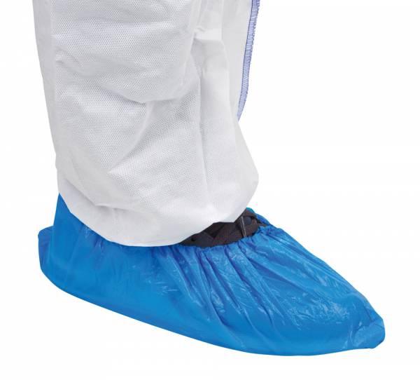 Einmalüberschuhe mit Gummizug aus blauem PE