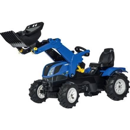 Trettraktor Rolly Toys Farmtrac NEW HOLLAND T7 mit Frontlader und Luftbereifung