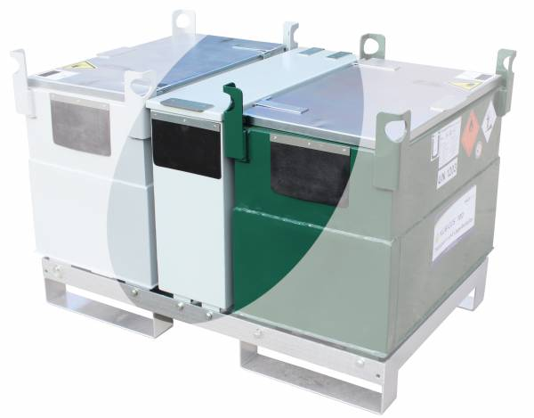 Beispiel Werkzeugbox auf Transportgestell mit 2 KUBICUS 100 Behältern