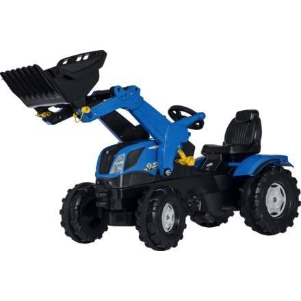 Trettraktor Rolly Toys Farmtrac NEW HOLLAND T7 mit Frontlader und Flüsterbereifung