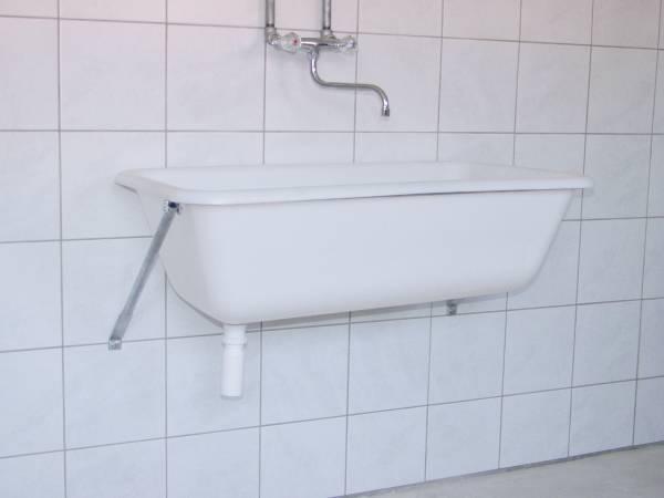 Wandkonsole aus verzinktem Stahlrohr für Süplwanne mit 65 Liter