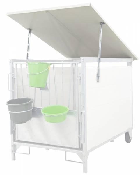Dach für Kälberbox - Anwenderbeispiel, Kälberbox und Eimer nicht im Lieferumfang enthalten