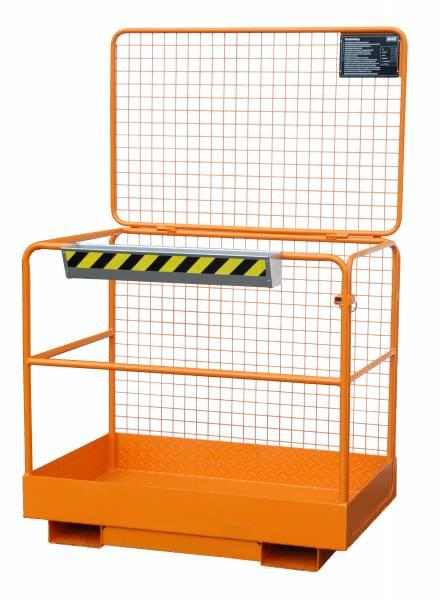 Bauer Stapler-Anbaugerät Sicherheitskorb SIKO – Aufnahme breite Seite – lackiert Gelborange