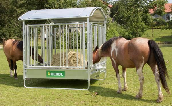 Viereckraufe für Pferde mit Sicherheitsfressgitter